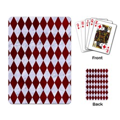 Diamond1 White Marble & Red Grunge Playing Card by trendistuff