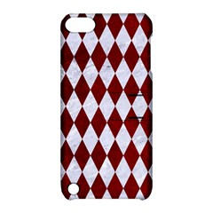 Diamond1 White Marble & Red Grunge Apple Ipod Touch 5 Hardshell Case With Stand by trendistuff