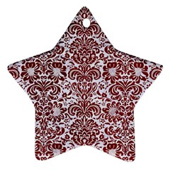 Damask2 White Marble & Red Grunge (r) Ornament (star) by trendistuff