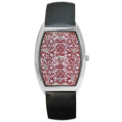 Damask2 White Marble & Red Grunge (r) Barrel Style Metal Watch by trendistuff