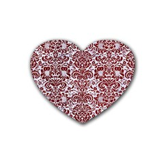 Damask2 White Marble & Red Grunge (r) Rubber Coaster (heart)  by trendistuff