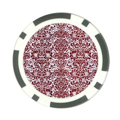 Damask2 White Marble & Red Grunge (r) Poker Chip Card Guard by trendistuff