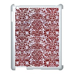 Damask2 White Marble & Red Grunge (r) Apple Ipad 3/4 Case (white) by trendistuff