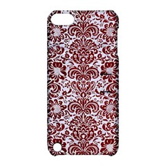 Damask2 White Marble & Red Grunge (r) Apple Ipod Touch 5 Hardshell Case With Stand by trendistuff