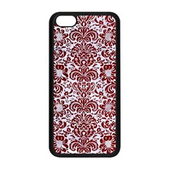 Damask2 White Marble & Red Grunge (r) Apple Iphone 5c Seamless Case (black) by trendistuff