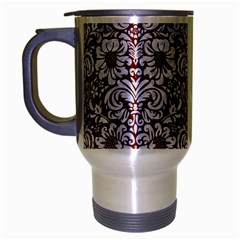 Damask2 White Marble & Red Grunge Travel Mug (silver Gray) by trendistuff