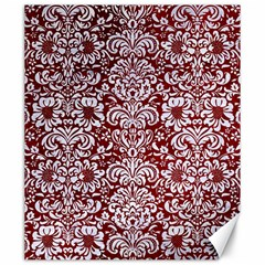 Damask2 White Marble & Red Grunge Canvas 20  X 24   by trendistuff