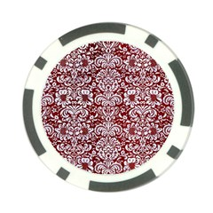 Damask2 White Marble & Red Grunge Poker Chip Card Guard by trendistuff