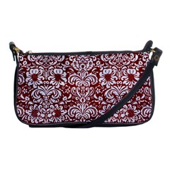 Damask2 White Marble & Red Grunge Shoulder Clutch Bags by trendistuff