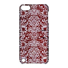 Damask2 White Marble & Red Grunge Apple Ipod Touch 5 Hardshell Case With Stand by trendistuff