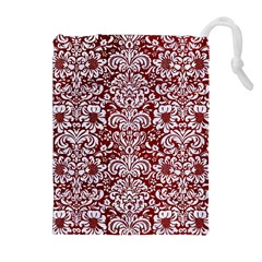 Damask2 White Marble & Red Grunge Drawstring Pouches (extra Large) by trendistuff