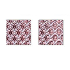 Damask1 White Marble & Red Grunge (r) Cufflinks (square) by trendistuff