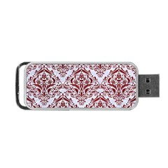 Damask1 White Marble & Red Grunge (r) Portable Usb Flash (one Side) by trendistuff