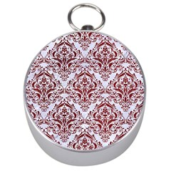 Damask1 White Marble & Red Grunge (r) Silver Compasses by trendistuff