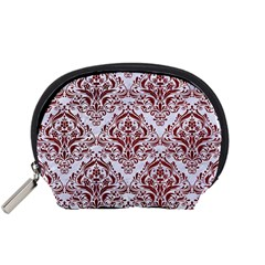 Damask1 White Marble & Red Grunge (r) Accessory Pouches (small)  by trendistuff