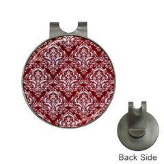 Damask1 White Marble & Red Grunge Hat Clips With Golf Markers