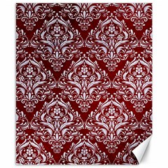 Damask1 White Marble & Red Grunge Canvas 8  X 10  by trendistuff