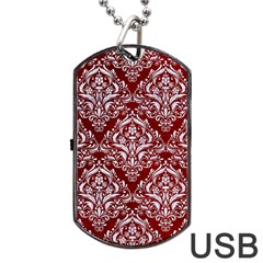 Damask1 White Marble & Red Grunge Dog Tag Usb Flash (one Side) by trendistuff
