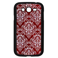 Damask1 White Marble & Red Grunge Samsung Galaxy Grand Duos I9082 Case (black) by trendistuff
