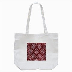 Damask1 White Marble & Red Grunge Tote Bag (white) by trendistuff