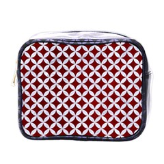Circles3 White Marble & Red Grunge Mini Toiletries Bags by trendistuff