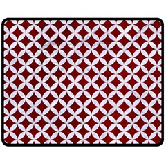 Circles3 White Marble & Red Grunge Double Sided Fleece Blanket (medium)  by trendistuff