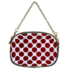 Circles2 White Marble & Red Grunge (r) Chain Purses (one Side)  by trendistuff