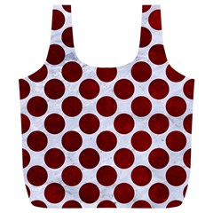 Circles2 White Marble & Red Grunge (r) Full Print Recycle Bags (l)  by trendistuff