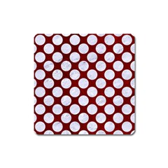 Circles2 White Marble & Red Grunge Square Magnet by trendistuff