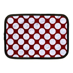 Circles2 White Marble & Red Grunge Netbook Case (medium)  by trendistuff