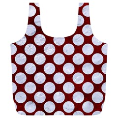 Circles2 White Marble & Red Grunge Full Print Recycle Bags (l)  by trendistuff
