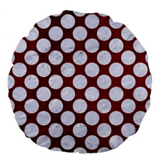 Circles2 White Marble & Red Grunge Large 18  Premium Flano Round Cushions by trendistuff