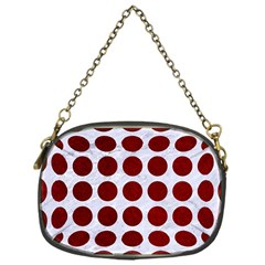 Circles1 White Marble & Red Grunge (r) Chain Purses (one Side)  by trendistuff