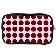 Circles1 White Marble & Red Grunge (r) Toiletries Bags by trendistuff