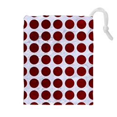 Circles1 White Marble & Red Grunge (r) Drawstring Pouches (extra Large) by trendistuff