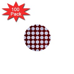 Circles1 White Marble & Red Grunge 1  Mini Buttons (100 Pack)  by trendistuff