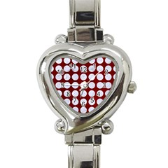 Circles1 White Marble & Red Grunge Heart Italian Charm Watch by trendistuff