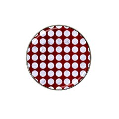 Circles1 White Marble & Red Grunge Hat Clip Ball Marker (10 Pack)
