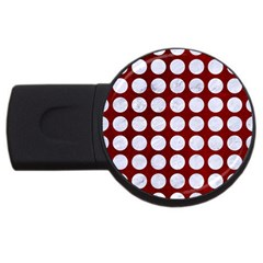 Circles1 White Marble & Red Grunge Usb Flash Drive Round (4 Gb) by trendistuff
