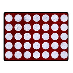 Circles1 White Marble & Red Grunge Fleece Blanket (small) by trendistuff