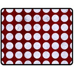 Circles1 White Marble & Red Grunge Double Sided Fleece Blanket (medium)  by trendistuff