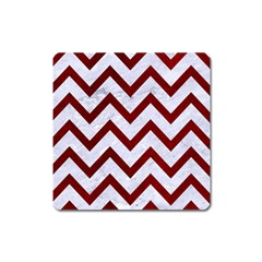 Chevron9 White Marble & Red Grunge (r) Square Magnet by trendistuff