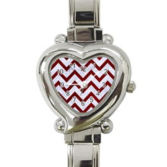 Chevron9 White Marble & Red Grunge (r) Heart Italian Charm Watch by trendistuff