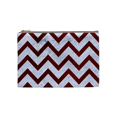 Chevron9 White Marble & Red Grunge (r) Cosmetic Bag (medium)  by trendistuff