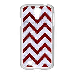 Chevron9 White Marble & Red Grunge (r) Samsung Galaxy S4 I9500/ I9505 Case (white) by trendistuff