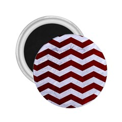 Chevron3 White Marble & Red Grunge 2 25  Magnets