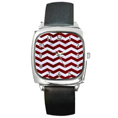 Chevron3 White Marble & Red Grunge Square Metal Watch by trendistuff