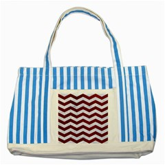 Chevron3 White Marble & Red Grunge Striped Blue Tote Bag by trendistuff