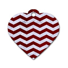 Chevron3 White Marble & Red Grunge Dog Tag Heart (two Sides) by trendistuff