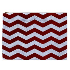 Chevron3 White Marble & Red Grunge Cosmetic Bag (xxl)  by trendistuff